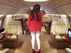 Sexy Stewardess Georgie Starts Undressing And Flashing Tits On Board