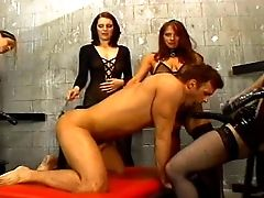 Dude Is Getting Wielded By A Fucking Army Of Nasty Chicks With Strap Dildo Fuck Sticks