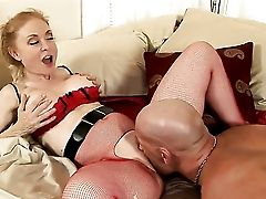 Blonde Nina Hartley Gets Down On Her Knees To Be Mouth Fucked By Christian
