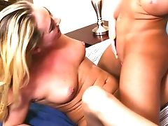 Bosomy Blonde And Inviting Black-haired Can't Stop Eating Each Others Edible Slits