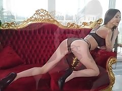 Stunner In Sexy Dark Underwear Leona Mia And Her Awesome Solo Flash