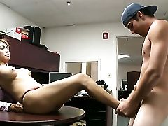 Brown-haired Penelope Perceives Intense Sexual While Jacking Man Off