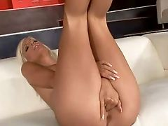 Arousing Blonde Beauty With Taut Booty Big Faux Balloons Taunts