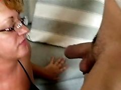 Nerdy Matures Chick Exposes Her Orbs And Gives The Dude A Nice Oral Pleasure