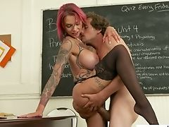 Gorgeous Tattooed Schoolteacher Anna Bell Peaks Has A Quickie With Youthful Student