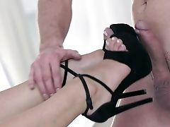 Blonde On High High-heeled Slippers, Voluptuous Foot Worship Bang-out Have Fun