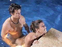 Romantic Pool Shag In Whorish Modes With Julia Roca