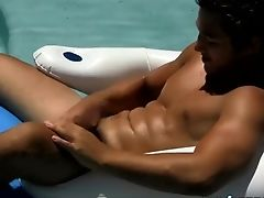 Cutie Jock Zack Randall Masturbating In Swimming Pool