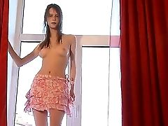Spicy Red-haired Nubile Beata Offers Her Excplicit Inexperienced Unclothe Display On The Window!