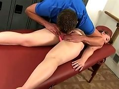 Brutal Intercourse Thirsty Masseuse Investigates Cock-squeezing Kitty Of Sweet Long-legged Chick Brooke Wylde With Thumbs