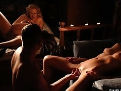 Fantastic Oral Petting During Ffm Threesome With Chesty Mummies