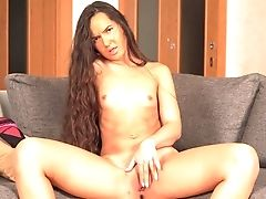 Smallish Tits Fledgling Monica Dark-skinned Delectations Her Cravings With A Faux-cock