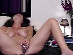 Big-boobed Mummy Fucks Her Muff Hard With Her Fake Penis