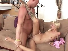 After Smooching Her Pal Lusty Blondie Emma Mae Gives Him A Good Rail