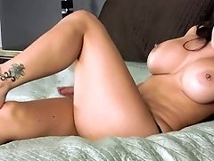 Raven Haired Huge-chested Stunner Danni Kalifornia With Tattooed Feet Strips