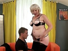 Old Perverted Lady Is Having Fuck-fest With A Youthfull Man On The Couch