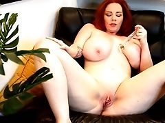 Insolent Nude Playing On A Leather Tabouret By A Hot Chubby Sandy-haired